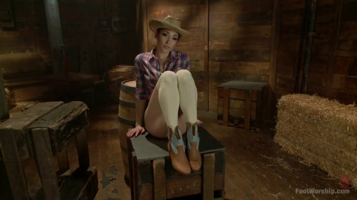 Lily LaBeau in Cowgirl Boots, Knee Socks and Sweaty To ...