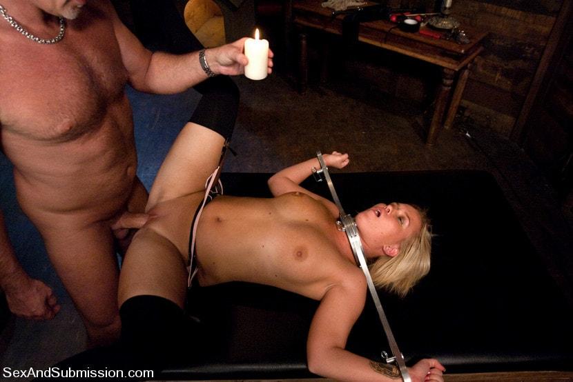 Black bondage gagged naked pussy spanked