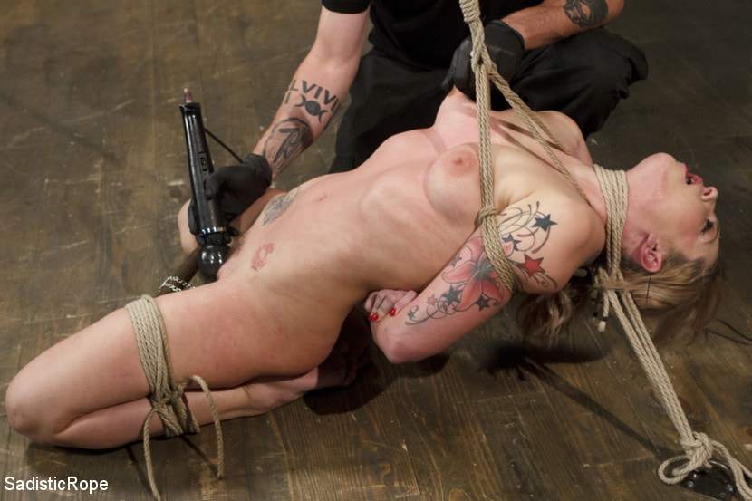 Hot Blond With Large Zeppelins In Brutal Predicament Bondage Jizz 1