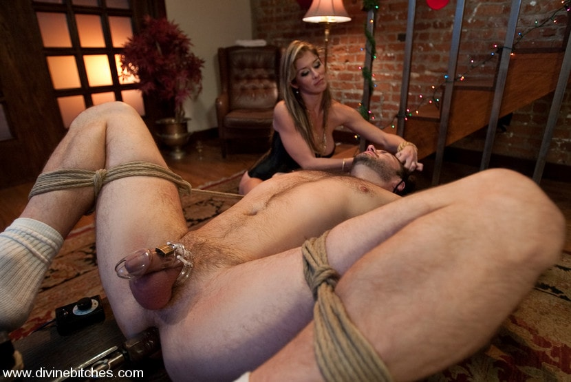 Predicament bondage, cuckold gagged bound and edged to total frustration