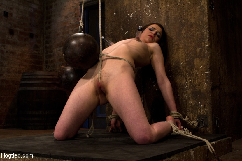 Juliette march in hogtied predicament bondage as juliette body is abused with pain pleasure multi